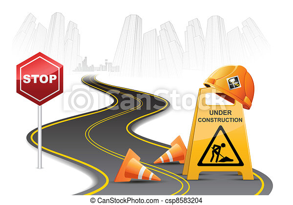 Under Construction on Road - csp8583204