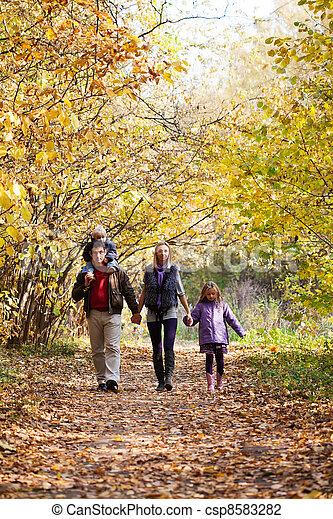 Family Enjoying Walk In Park - csp8583282