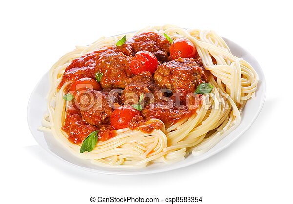 pasta with meatballs and tomato sauce - csp8583354