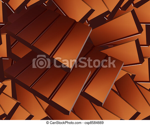 Delicious Sparse chocolate bars background - csp8584669