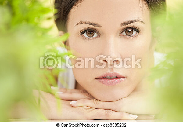 Natural Green Health Spa Concept Beautiful Woman  - csp8585202