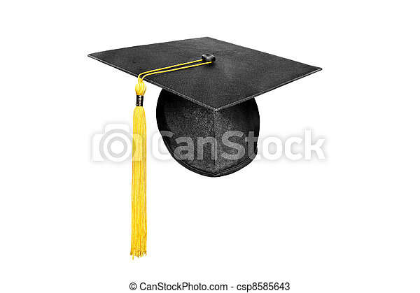 Graduation cap isolated on white - csp8585643