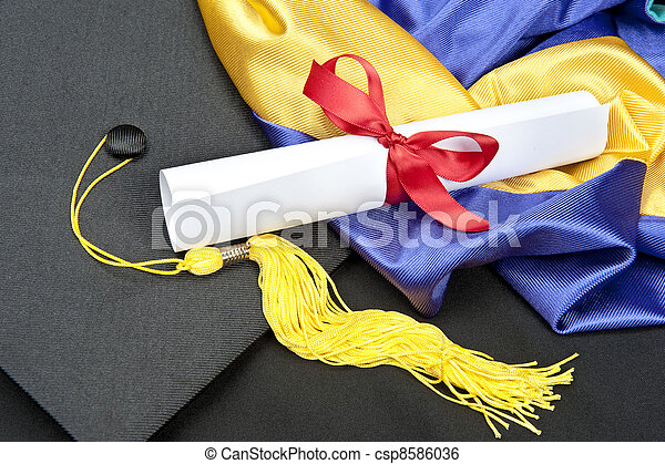 Graduation cap and diploma - csp8586036