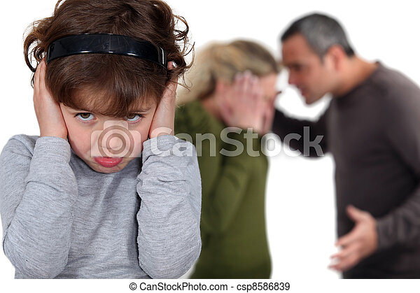 Little girl blocking out her parents' argument - csp8586839