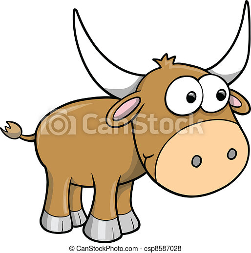 Goofy Happy Bull Cattle Animal - csp8587028