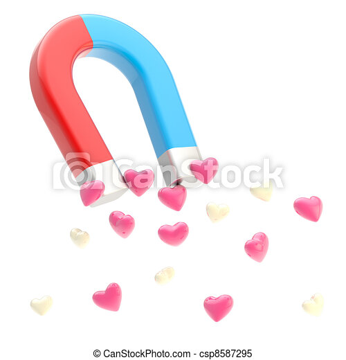 Symbolic horseshoe magnet attracting love hearts - csp8587295
