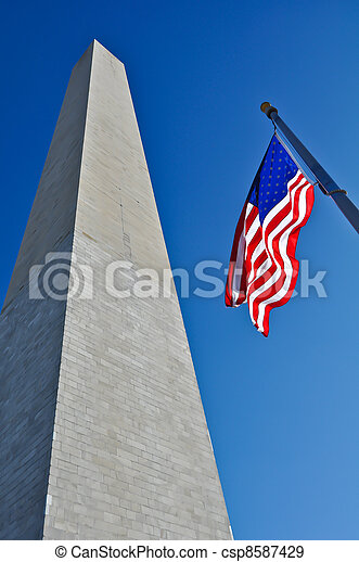 Washington Monument and American Flag - csp8587429