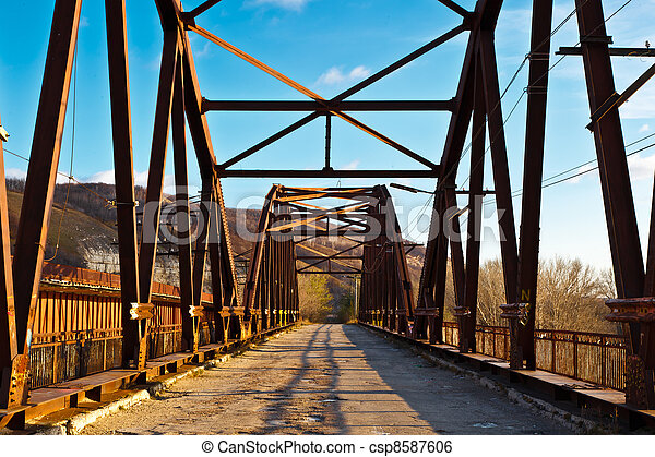 Old Rusty Bridge across Volga River near Samara, Russia - csp8587606