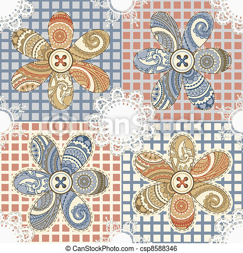 vector seamless textile background with flowers, buttons, and napkins - csp8588346