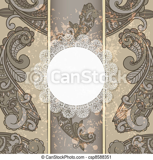 vector menu with paisley pattern and napkin for your text on  grungy background  - csp8588351