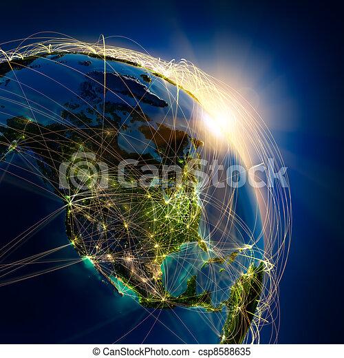 Main air routes in North America - csp8588635