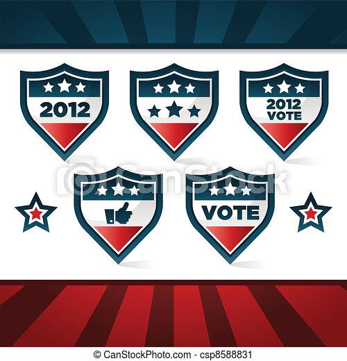 Patriotic Voting Shields - csp8588831