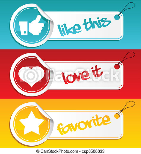 Like, Love and Favorite Tags - csp8588833