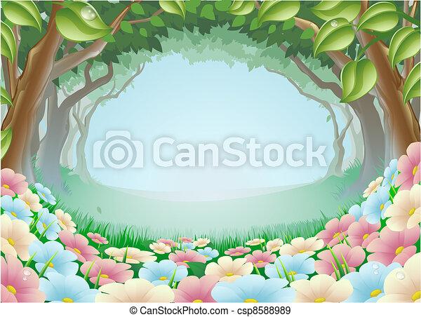 Fantasy forest scene - csp8588989