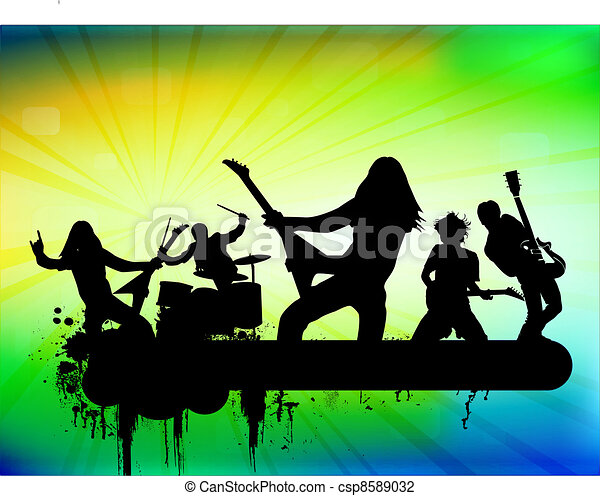 Vector Illustration Of Rock Band In Abstract Background