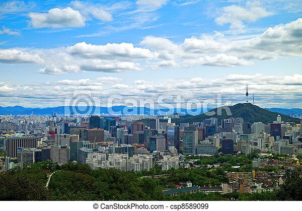 Panoramic view of Seoul, South Korea - csp8589099