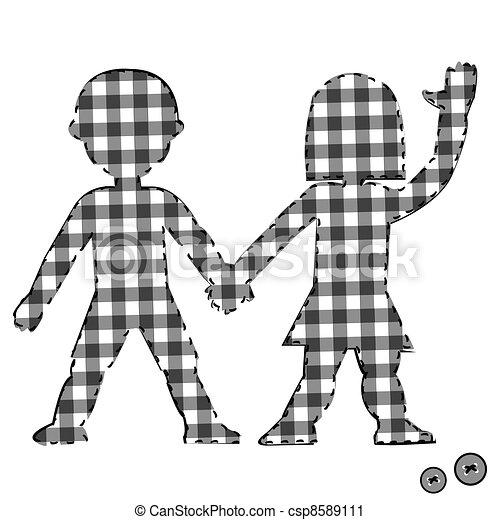 Children textile patchwork couple - csp8589111