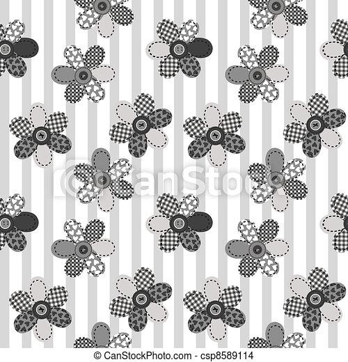 Textile patchwork flowers backgroun - csp8589114