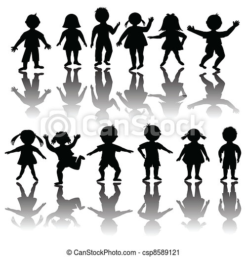 Set of black children silhouette - csp8589121