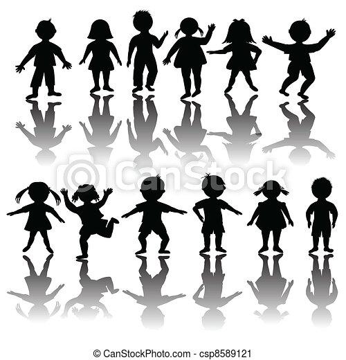 Set of black children silhouette - csp8589121