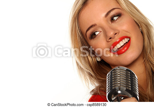 Beautiful Singer With Microphone - csp8589130