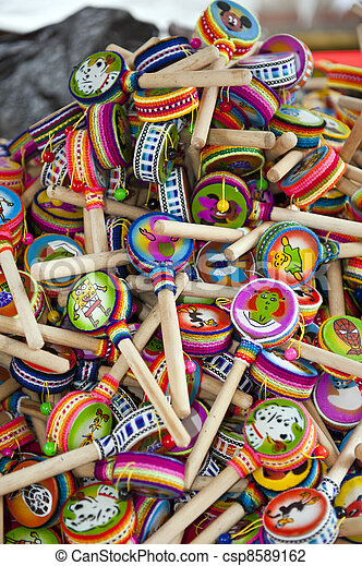 colorful indigenous market of Otavalo - csp8589162