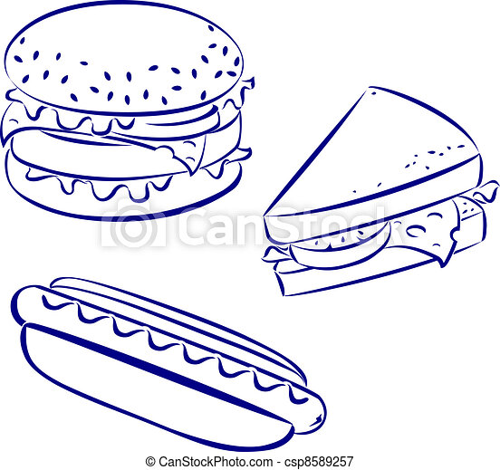 Hamburger Icon Black And White Fast food icons, black and