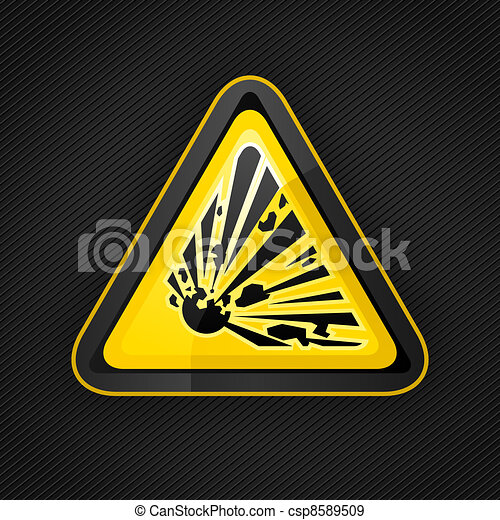 Hazard warning triangle explosive sign on a metal surface - csp8589509