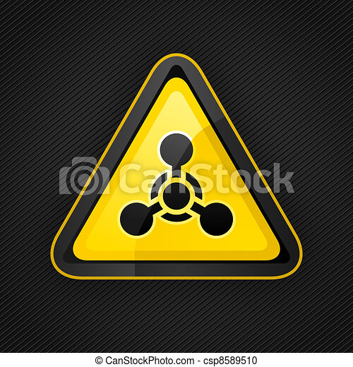 Hazard warning triangle chemical weapon sign on a metal surface - csp8589510
