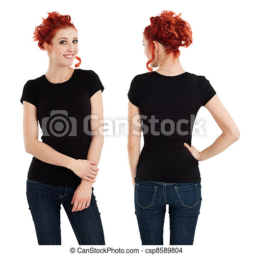 Gorgeous female with blank black shirt - csp8589804