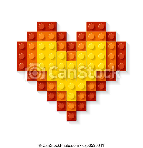 Heart made from plastic blocks - csp8590041