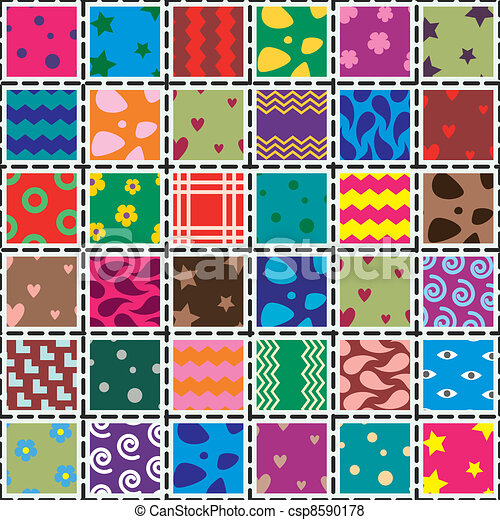 vector patchwork fabric art background - csp8590178