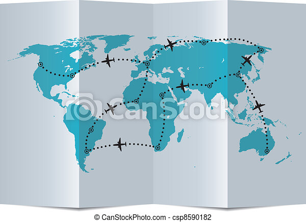vector paper map with airplane flight paths - csp8590182