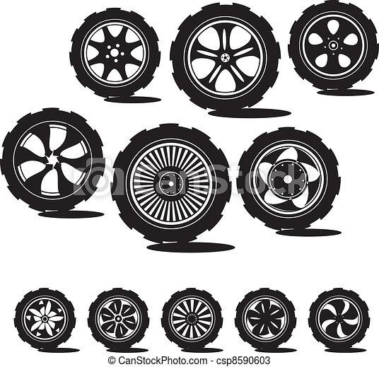 black  silhouette: automotive wheel  - csp8590603