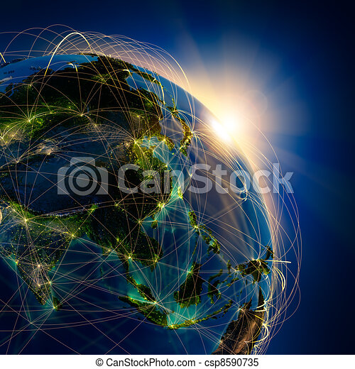 Main air routes in Asia - csp8590735
