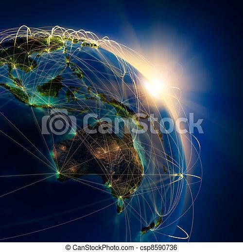 Main air routes in Australia and Oceania - csp8590736