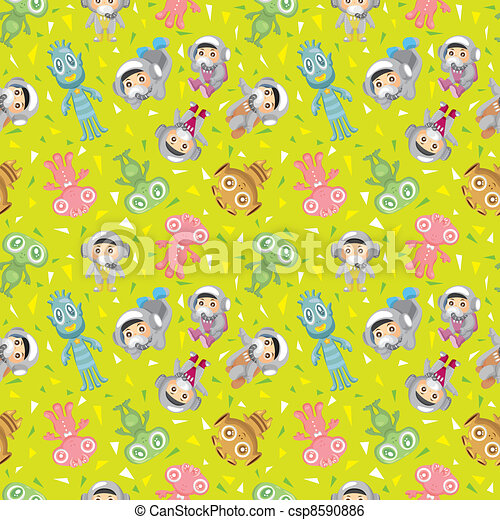 spaceman and ufo seamless pattern - csp8590886