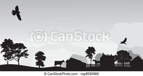 grey landscape with trees and village - csp8590969
