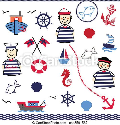 Digital Collage of Nautical - csp8591567