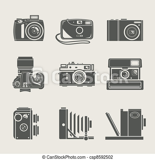 camera new and retro icon - csp8592502