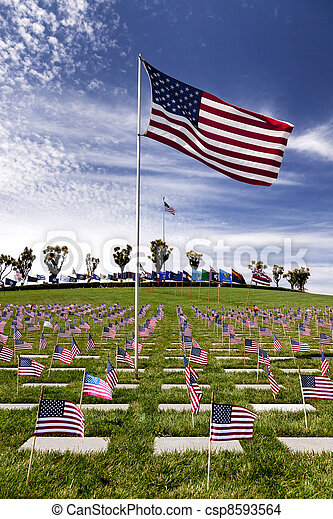 Headstones at United States National Cemetery - csp8593564
