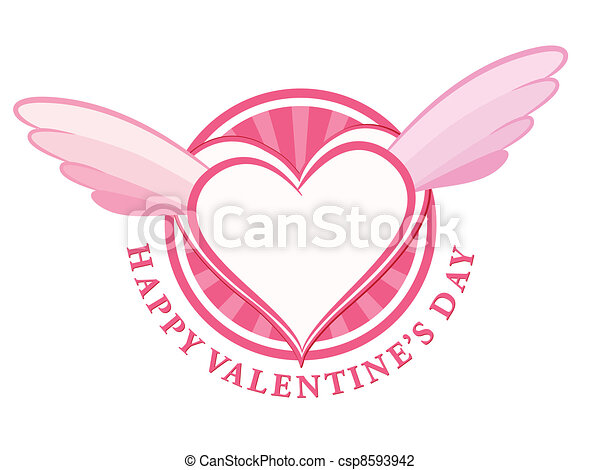 HAPPY Valentine day stamp with heart and wings - csp8593942