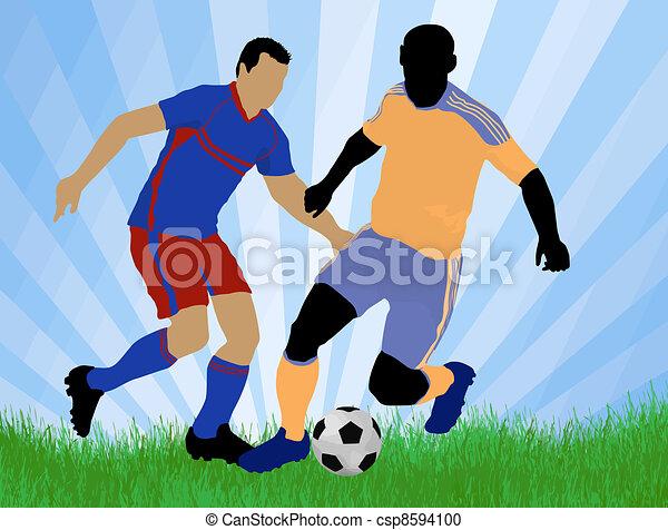 サッカー, プレーヤー, 攻撃, 門, 対抗者,... csp8594100のベクタークリップアート - クリップ ...
