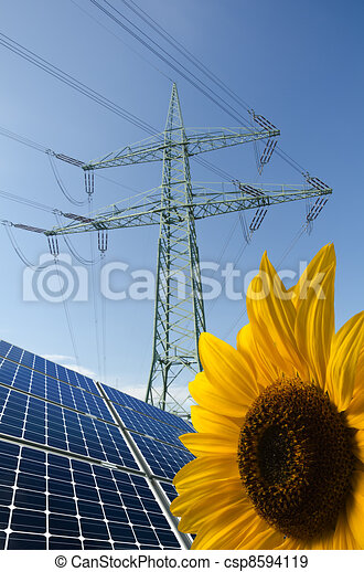 Solar panels, sunflower and utility pole with wires - csp8594119