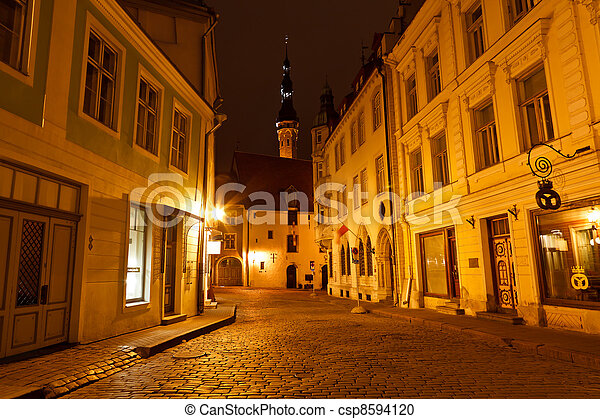 Night Street in the Old Town of Tallinn, Estonia - csp8594120