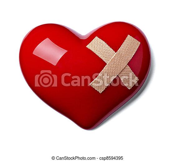 forma coração, amor, faixa, magoado - csp8594395