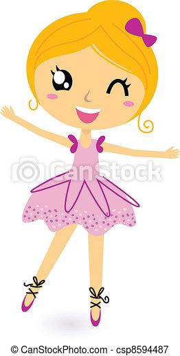 Cute little dancing ballerina girl - csp8594487