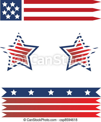 Set of American flags - csp8594618
