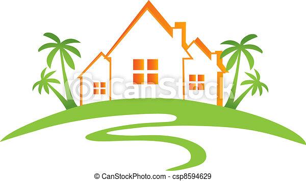 Houses sun and palms design  - csp8594629