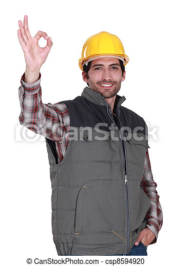 portrait of foreman making okay sign - csp8594920